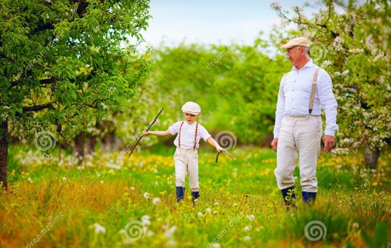 grandpa-grandson-walking-spring-garden-grandfather-53629178